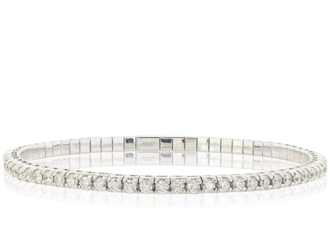 3.11 Carat Diamond Flexible Bracelet (18K White Gold) - Jewelry Boston
