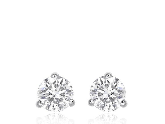 3.11 Carat Round Brilliant Cut Diamond Stud Earrings E / I1 (18K White Gold) - Jewelry Boston