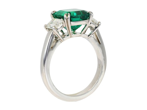 3.15 Carat Colombian Emerald And Diamond Ring (Platinum) - Jewelry Boston