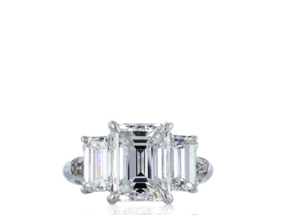 3.15 Carat Emerald Cut 3 Stone Diamond Engagement Ring (Platinum) - Jewelry Boston