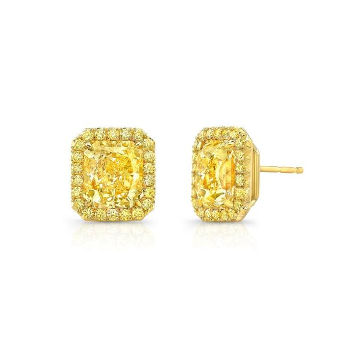 3.16 Carat GIA Fancy Yellow Radiant Cut Diamond Halo Studs - Boston