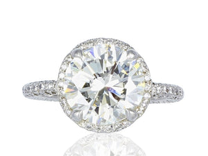 3.17 Carat Round Brilliant Cut Micro Pave Halo Diamond Engagement Ring (Platinum) - Jewelry Boston