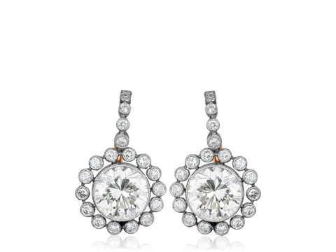 3.19 Carat Diamond Vintage Style Drop Earrings - Jewelry Boston