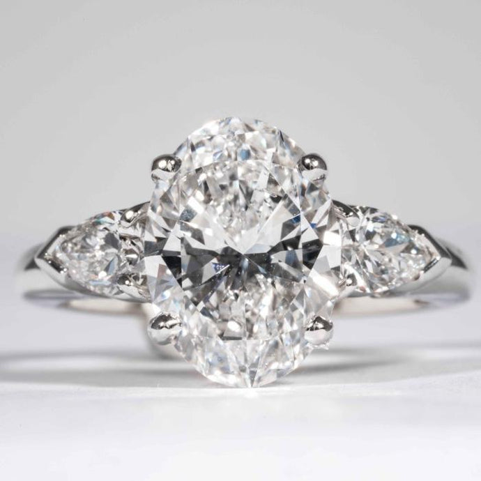 3.20 carat D SI1 Oval Cut Diamond and Platinum Ring (GIA Certified) - ENGAGEMENT Boston