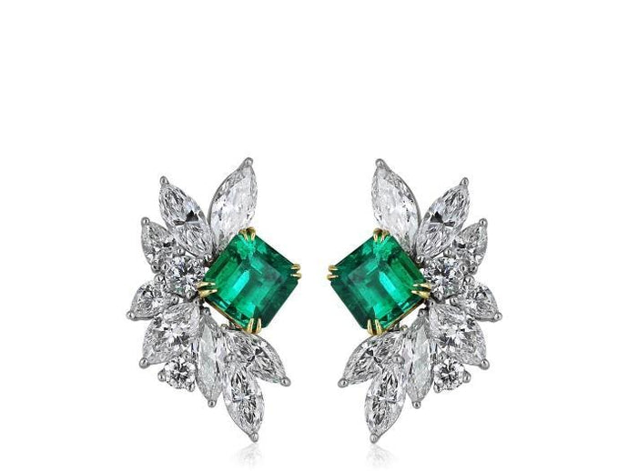 Emerald and Diamond Cluster Earrings - Boston