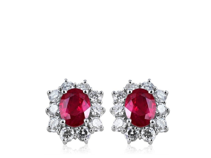 3.20ct Burma Pigeon Blood Ruby & Diamond Cluster Earrings (White Gold) - JEWELRY Boston