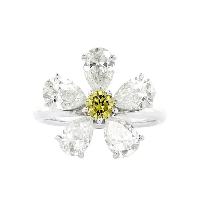 Diamond Pear Shape Flower Ring (Platinum) - Boston
