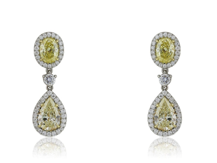 3.25ct Canary Diamond Drop Earrings (Two Tone) - JEWELRY Boston