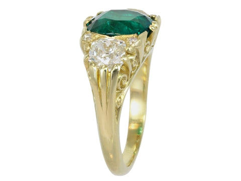 3.27 Carat Colombian Emerald & Diamond Ring - Jewelry Boston