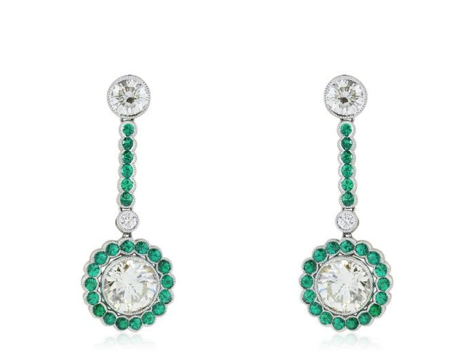 3.27ct Diamond Emerald Drop Earrings - JEWELRY Boston