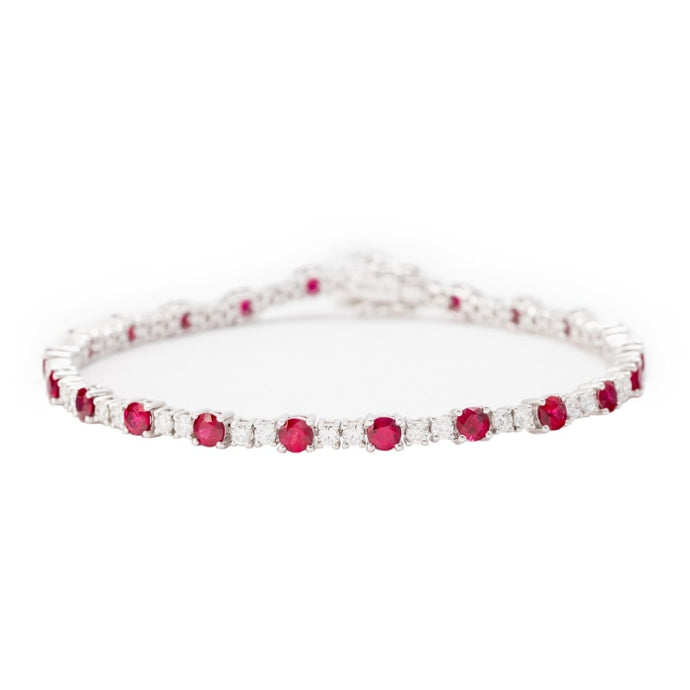 3.30ct Rubies & Diamond Bracelet (White Gold) - JEWELRY Boston