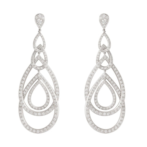 3.33Ctw Gumuchian White Gold Peacock Diamond Drop Earrings - Jewelry Boston