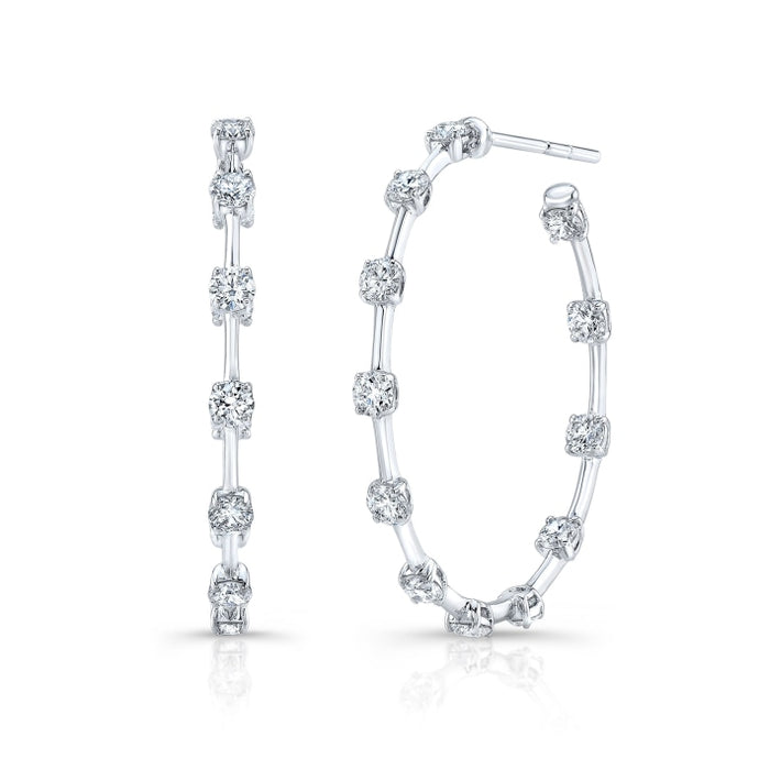 3.37ctw Diamond Hoop Earrings (White Gold) - Jewelry Designers Boston