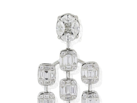 3.45 Carat Diamond Chandeleir Earrings (18K White Gold) - Jewelry Boston