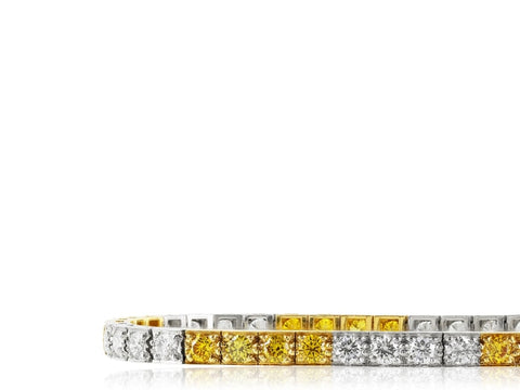 3.46 Carat Yellow & Colorless Diamond Bracelet Signed Oscar Heyman - Jewelry Boston
