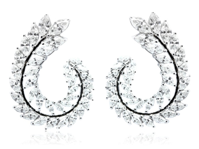 3.47ctw Laurel Leaf Diamond Earrings (White Gold) - JEWELRY Boston