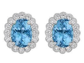 3.50CTW Aquamarine & Diamond Earrings (White Gold) - JEWELRY Boston