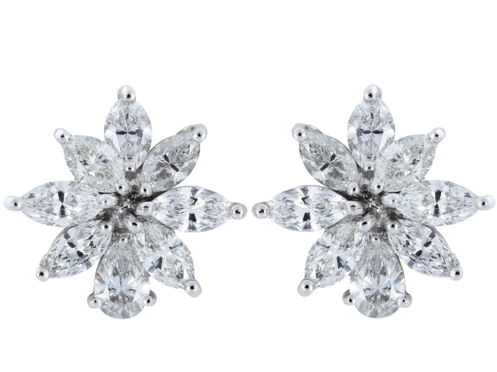 3.50ctw Fancy Shaped Diamond Earrings (Platinum) - JEWELRY Boston