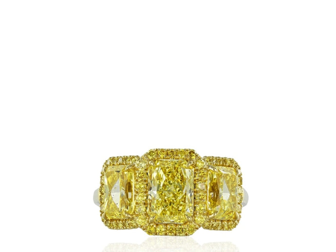 3.53ctw Radiant Canary 3-Stone Diamond Ring (GIA Certified Yellow Gold) - Jewelry Designers Boston