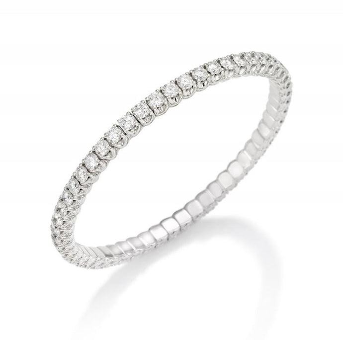 3.53ctw Round Diamond Tennis Xpandable Bracelet (White Gold) - Jewelry Designers Boston