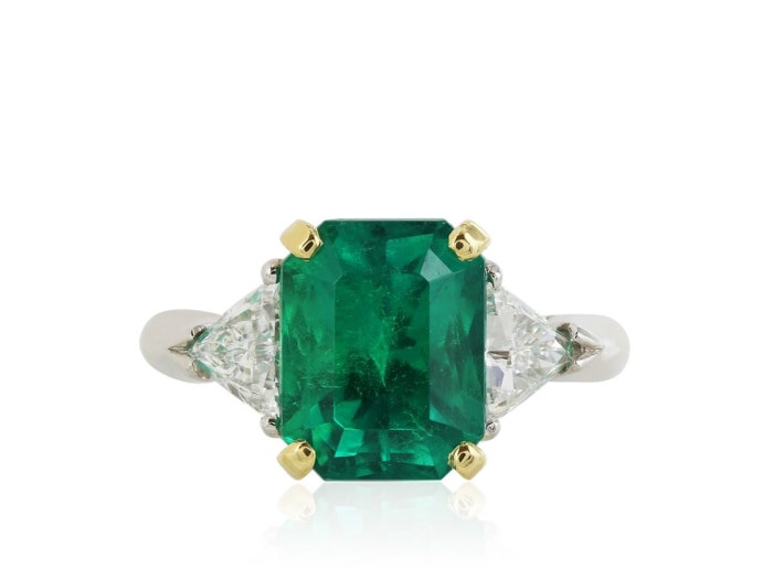 3.54 Carat Colombian Emerald And Diamond Ring (Platinum) - Jewelry Boston