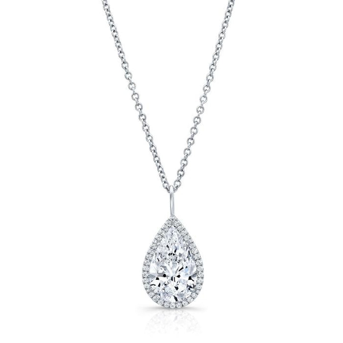 3.56ct Pear Shape Diamond Halo Pendant (White Gold) - Jewelry Designers Boston
