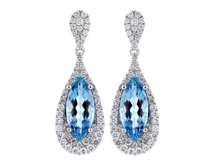3.60 Carat Aquamarine & Diamond Tear Drop Shaped Earrings - Jewelry Boston
