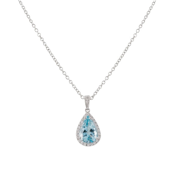 3.63ct Pear Shape Aquamarine & Diamond Pendant (14k White Gold) - JEWELRY Boston
