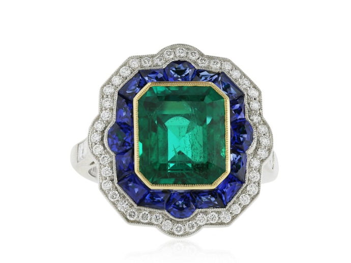 3.68 Carat Emerald Sapphire & Diamond Ring (Platinum) - Jewelry Boston
