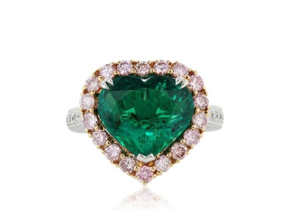 3.70 Carat Heart Shape Colombian Emerald Ring W/ Diamonds (18K Rose & White Gold) - Jewelry Boston