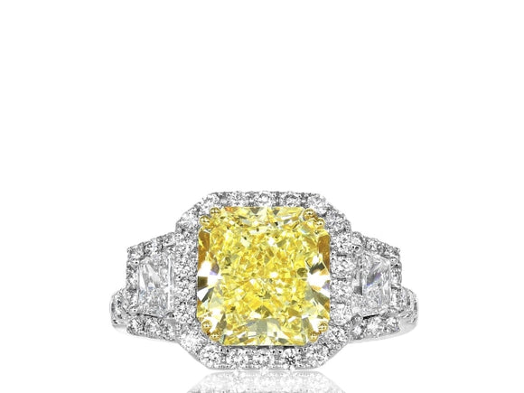 3.77 Carat Gia Certified Canary Diamond Ring - Jewelry Boston
