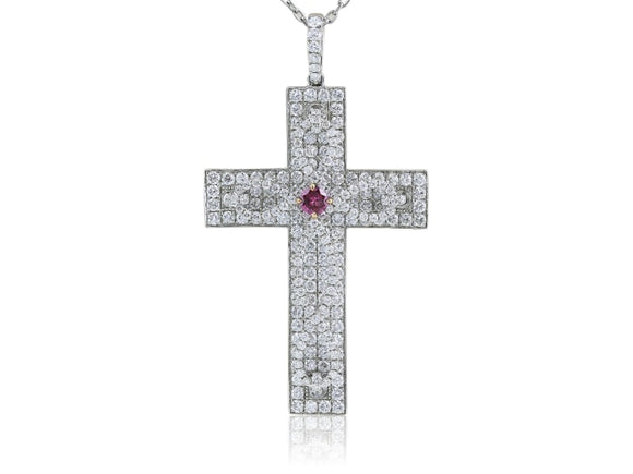 3.77 Carats Diamond Pave Cross Pendant With Vivid Argyle Pink - Jewelry Boston
