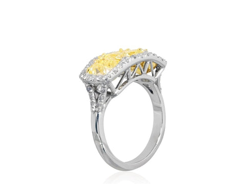 3.90 Radiant Brilliant Cut 3 Stone Canary Diamond Ring (Platinum) - Jewelry Boston