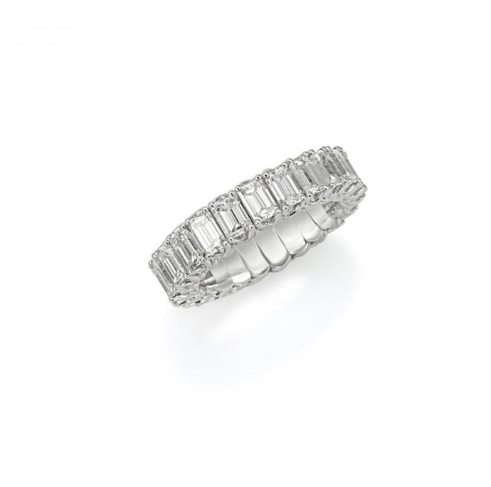 3.90ctw Emerald Cut Eternity Xpandable Band (White Gold) - Jewelry Designers Boston