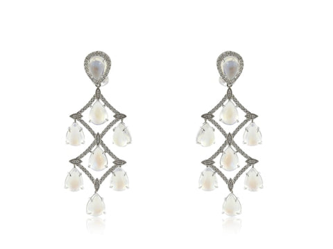 30.38 Carat Moonstone Diamond Earrings (18K White Gold) - Jewelry Boston