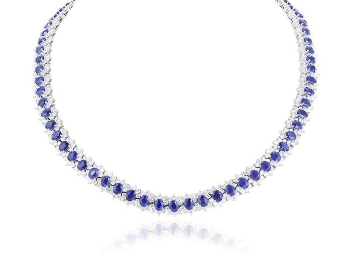 31.66ct Oval Sapphire and Diamond Necklace - Boston