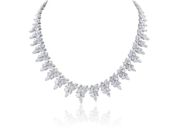 31.68 Carat Diamond Cluster Collar Necklace (18K White Gold) - Jewelry Boston