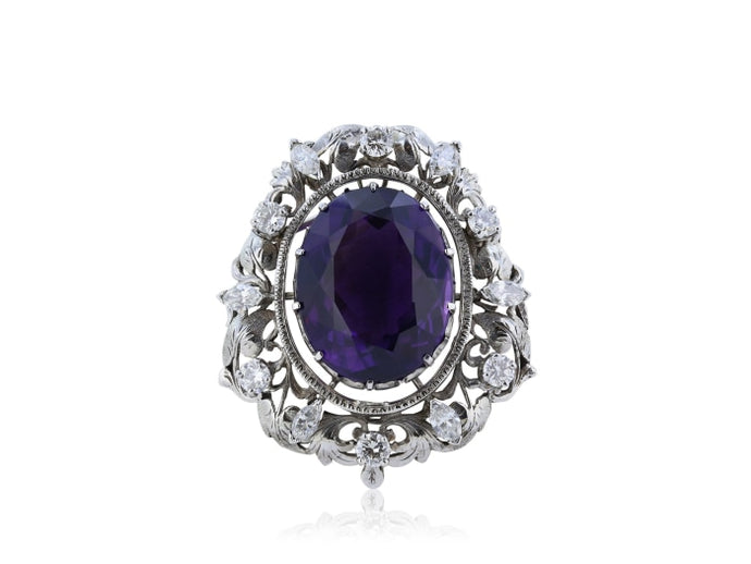 32.00ct Amethyst & Diamond Pin (White Gold) - JEWELRY Boston