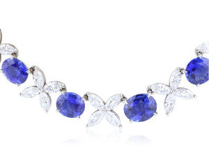 32.19ct Ceylon Sapphire & Marquise Diamond Choker Necklace - JEWELRY Boston
