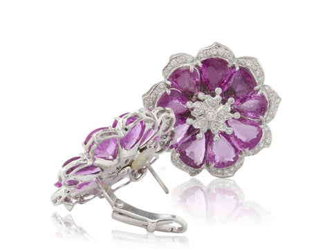 33 Carat Pink Sapphire & Diamond Flower Earrings (18K White Gold) - Jewelry Boston