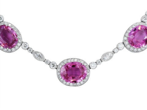 34.62 Carat Pink Sapphire & Diamond Necklace - Jewelry Boston