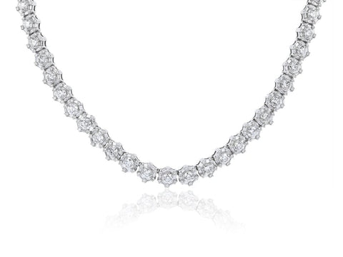 35.00 Carat Roberto Coin Estate Round Brilliant Cut Diamond Necklace (18K White Gold) - Jewelry Boston