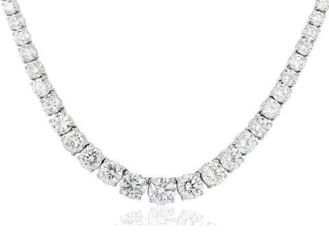 36.75ct Diamond Riviera Necklace (Platinum) - JEWELRY Boston