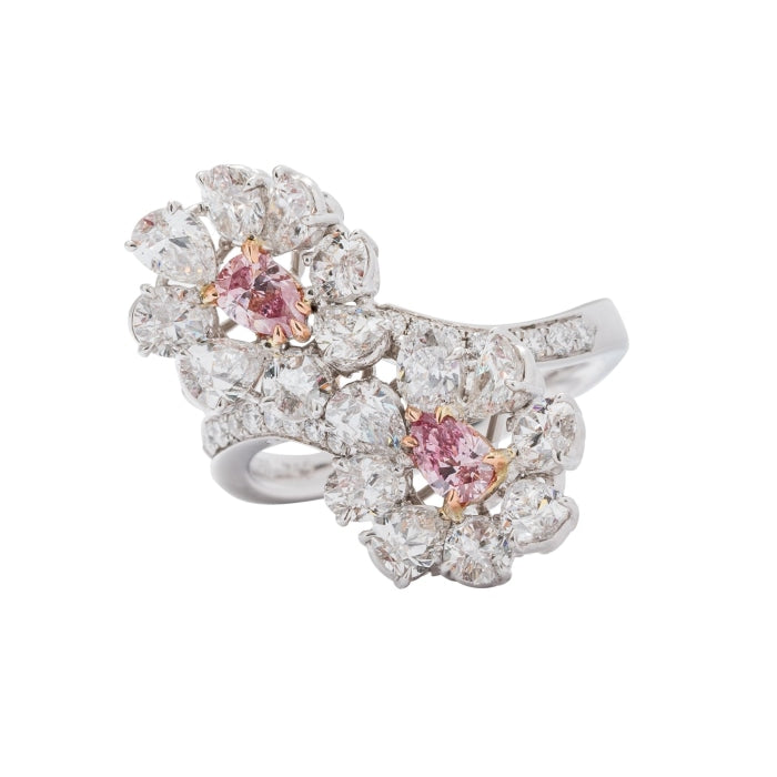 .37 Carat Pear Shape Pink Diamond Flower Ring - JEWELRY Boston