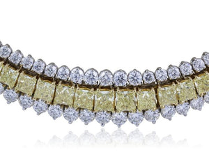 Plat 14.46Ct Natural Canary Diamond Necklace - Boston