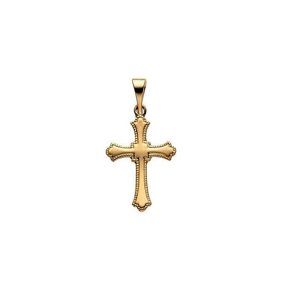 3/8 Cross Pendant (14k Yellow Gold) - JEWELRY Boston