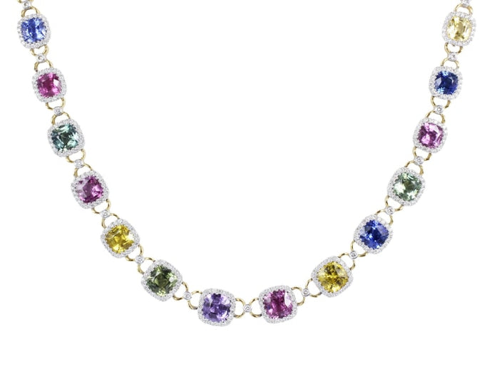39.10 Carat Multi-Color Sapphire & Diamond Necklace - Jewelry Boston