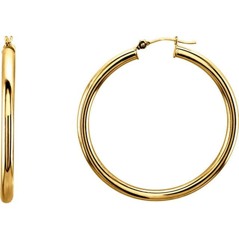 3mm Gold Hoop Earrings (14k Yellow Gold 3mm) - JEWELRY Boston