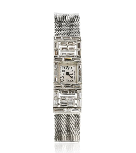 4.00 carat Platine Ladies Art Deco Diamond Dress Watch - JEWELRY Boston