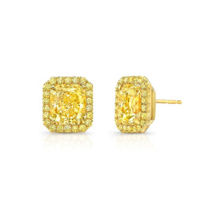 4.00ct Radiant Fancy Yellow Diamond Halo Earrings (GIA Certified Yellow Gold) - Jewelry Designers Boston